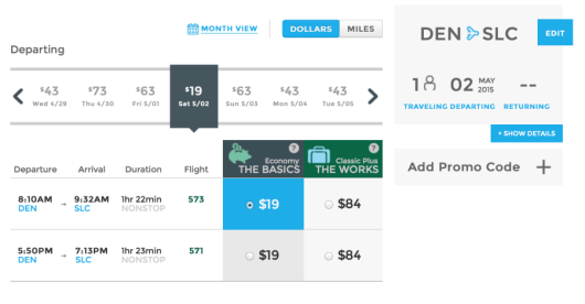 Fly from Denver, CO to Salt Lake City, UT for only $19 one-way.