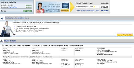 Chicago-Dubai booking through United.