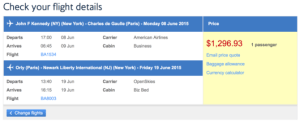 New York- Paris booking with British Airways in Business Class for $1,296.93