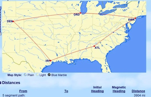 This itineray has 3 stop overs and a destination and falls just short of 4,000 miles to make it only cost 22,000 ANA miles in economy.