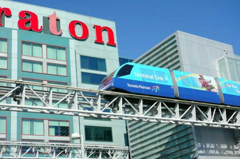 YYZ's terminal monorail shuttle outside of the Sheraton Gateway. (Photo courtesy of Shutterstock)