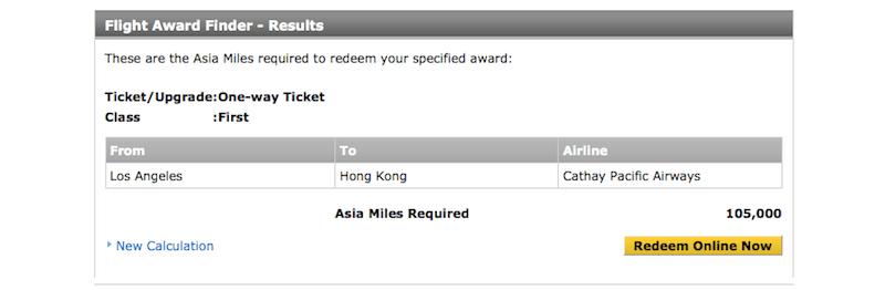 CX Asia miles oneway