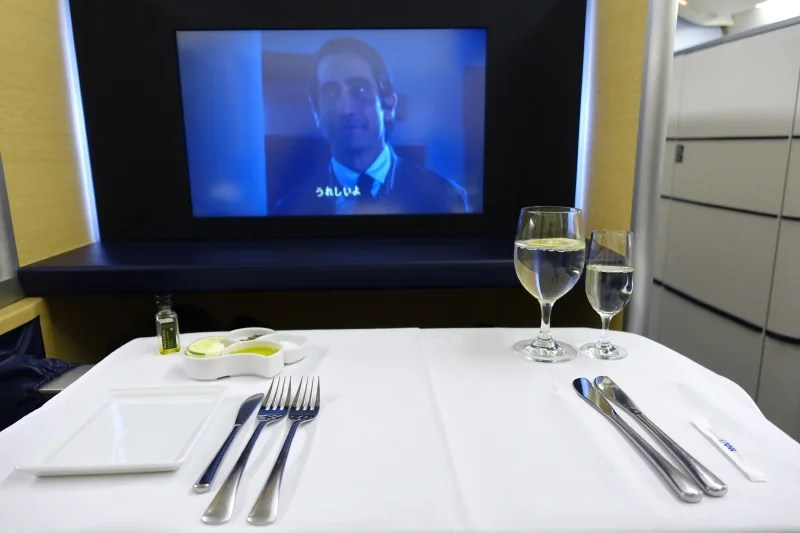 ANA's first-class meal service is a very formal affair.