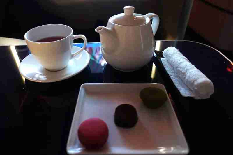 Tea time in ANA first class.