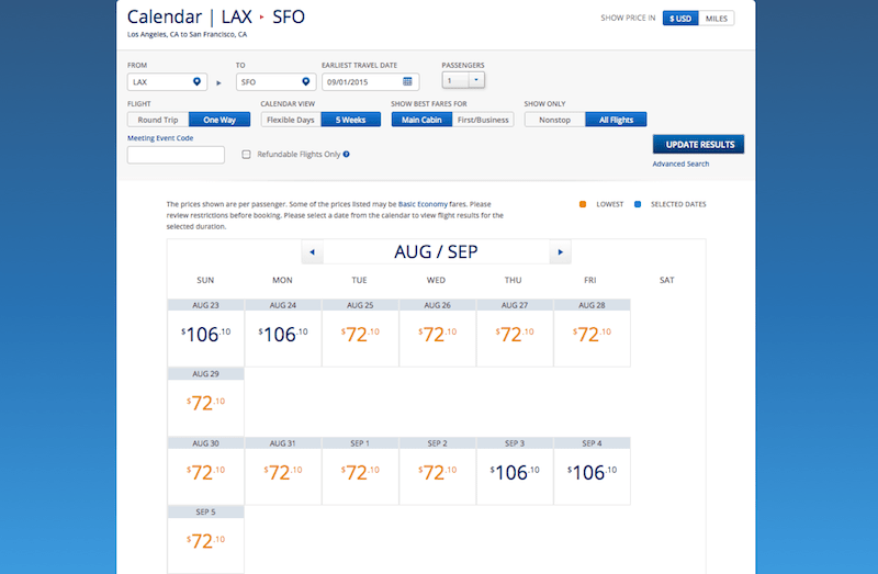 Delta LAX SFO price