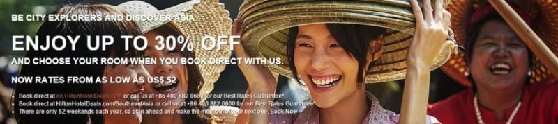 Hilton 30% off sale in Southeast Asia