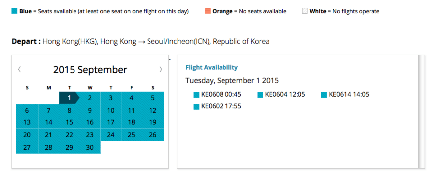 But there is usually availability when you search individual segments like this one from HKG-ICN.