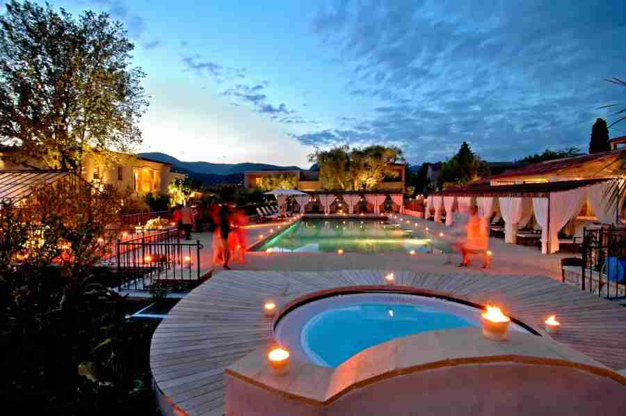 The hotel Le Mas de Pierre boasts beautiful grounds, including a gorgeous pool
