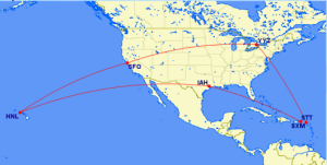 Roundtrip from San Francisco to Hawaii (stopover) St. Thomas (destination) open jaw to St. Maarten to Toronto (stopover) back to San Francisco all in business for 80,000 EVA miles.