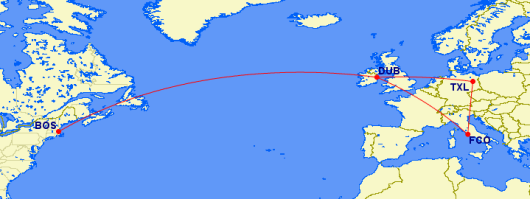 This itinerary on Aer Lingus and Air Berlin in business would cost 85,000 Asia Miles.