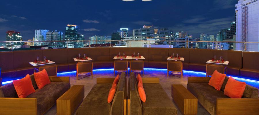 Crave Wine Bar & Restaurant at the Aloft Bangkok includes an outdoor terrace for al fresco dining.