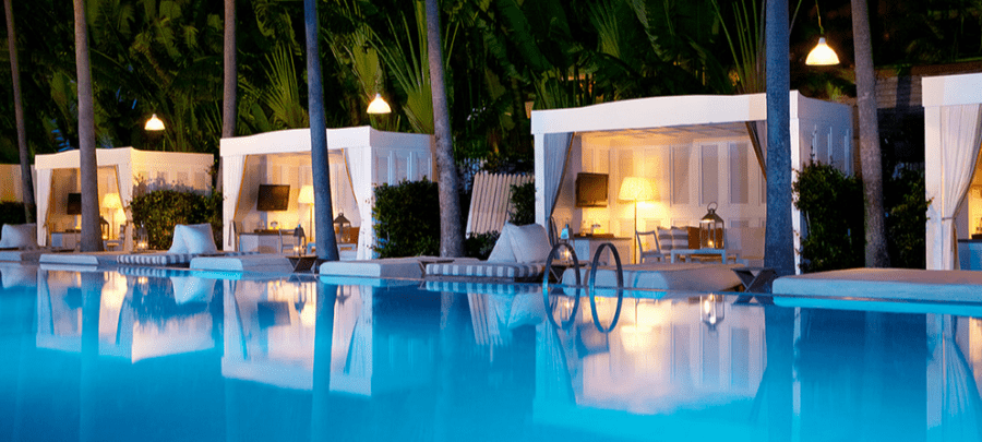 You can enjoy a variety of on-property benefits at boutique hotels like the Delano in Miami Beach