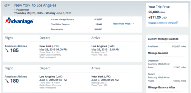 New York (JFK) to Los Angeles (LAX) for 25,000 miles roundtrip.