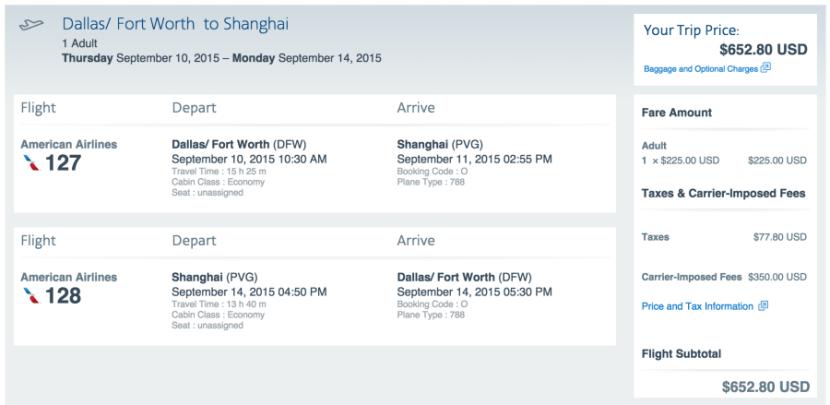 Dallas (DFW)-Shanghai (PVG) for $653 on American.