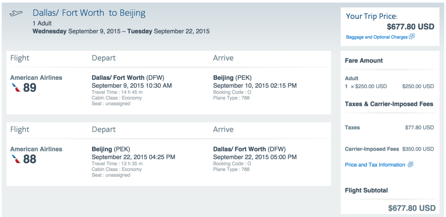 Dallas (DFW)-Beijing (PEK) for $678 on American.