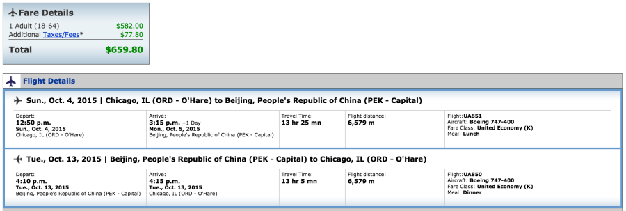 Chicago (ORD)-Beijing (PEK) for $660 on United.