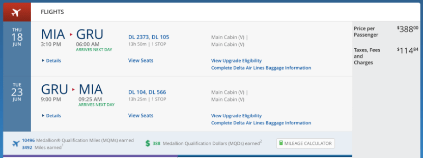 Miami (MIA)-São Paulo for $503 on Delta.