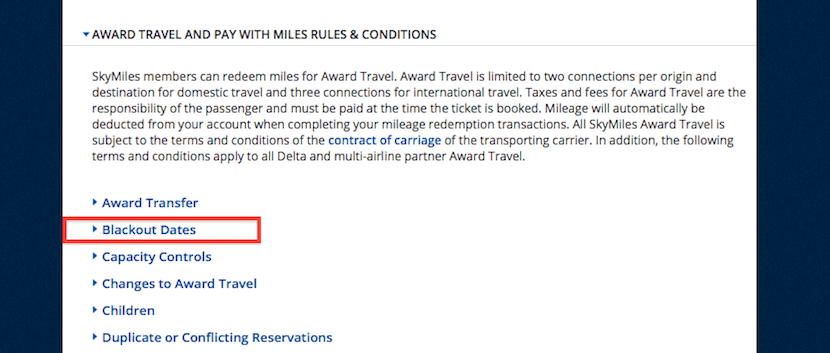Delta SkyMiles has added a Blackout Dates section to its program rules.