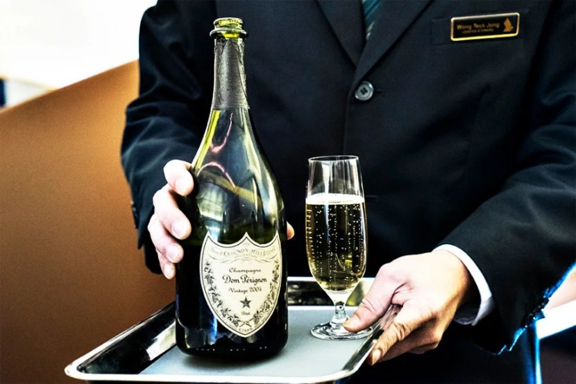 Dom Perignon not enough for you? Well, good thing Singapore First Class offers Krug, too!