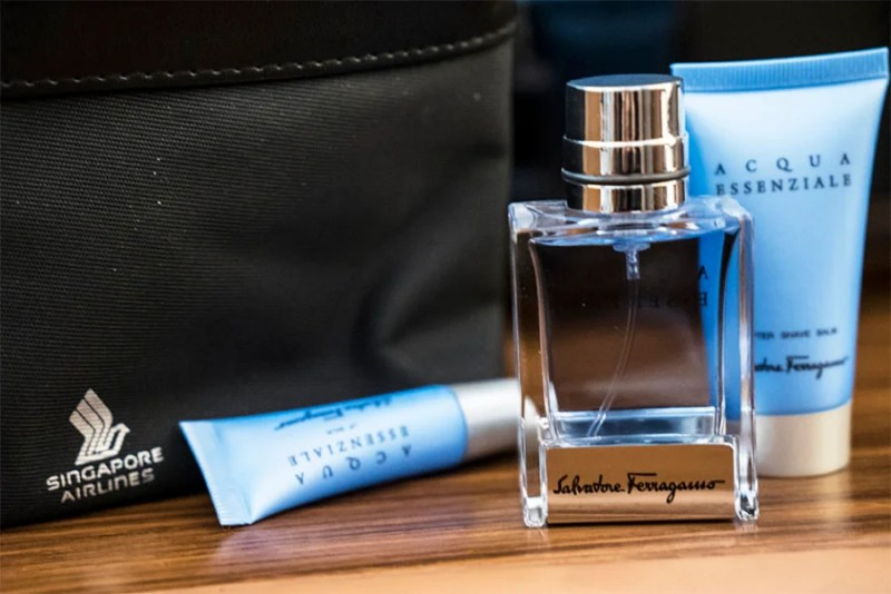 The chic amenity kits for men include toiletry products by Ferragamo.