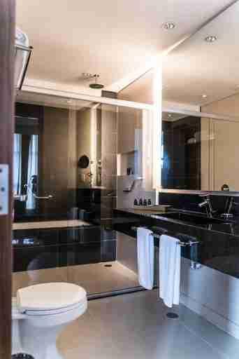 Sleek and functional bathroom.