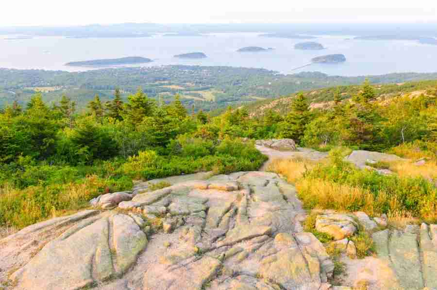 view of Bar Harbor and The Porcupine Islands from Cadillac Mountain at Acadia National Park in Maine