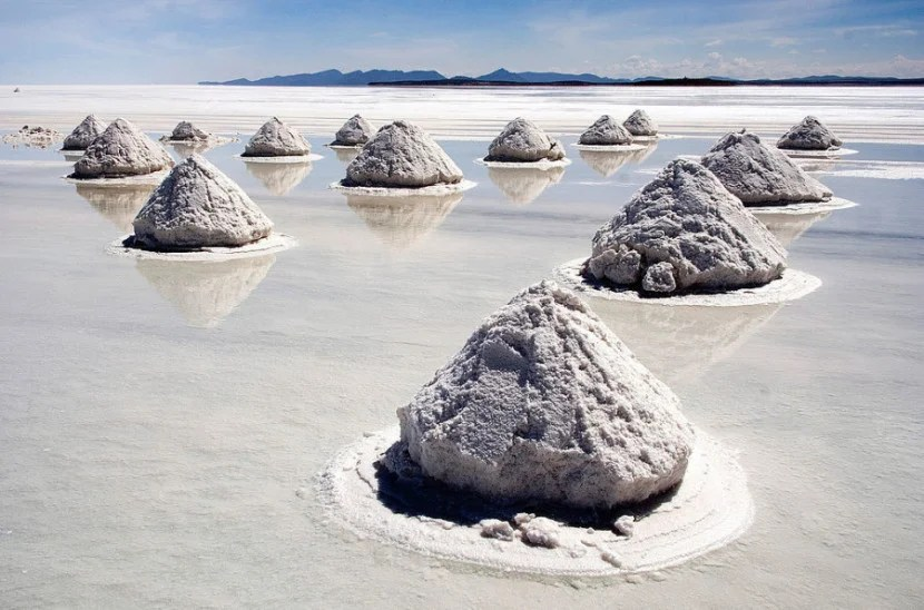 Piles of salt can be found throughout Bolivia's Uyuni Salt Flats. Photo via Wikipedia Commons.