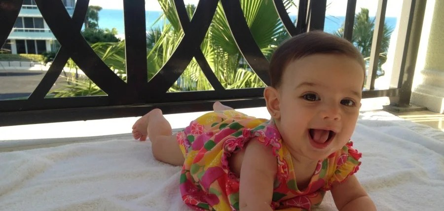 Evy loved hanging on the balcony while we enjoyed the sweeping ocean views.