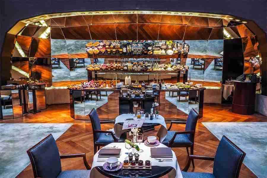 The mirrored breakfast buffet at the Park Hyatt Paris-Vendôme.