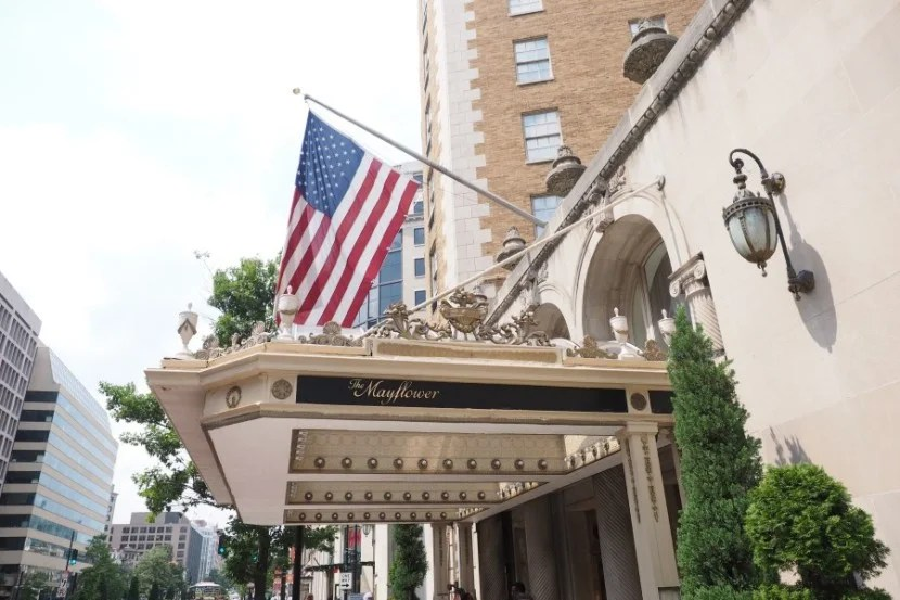 The Mayflower Hotel proudly waving Old Glory.