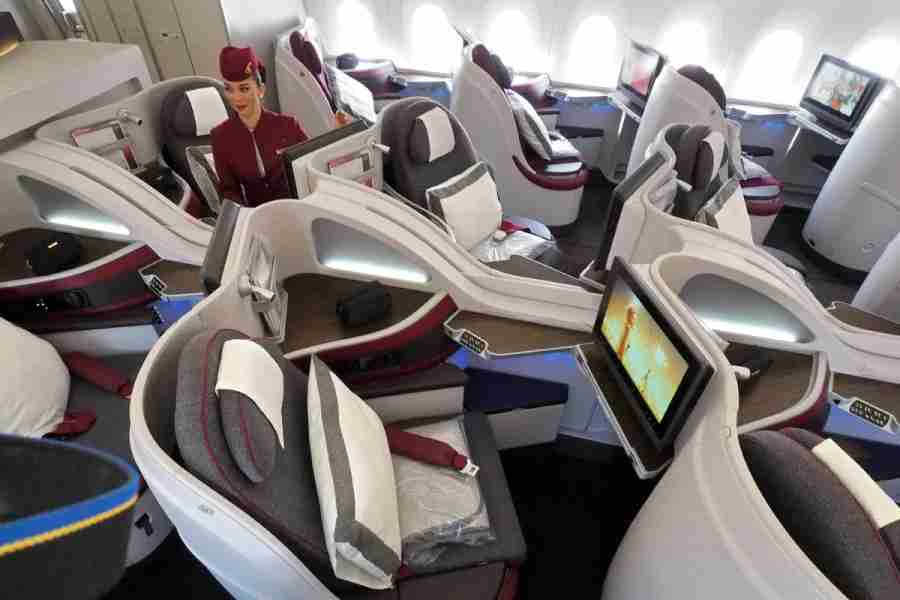 With seats in a 1-2-1 configuration, everyone has aisle access in business class.