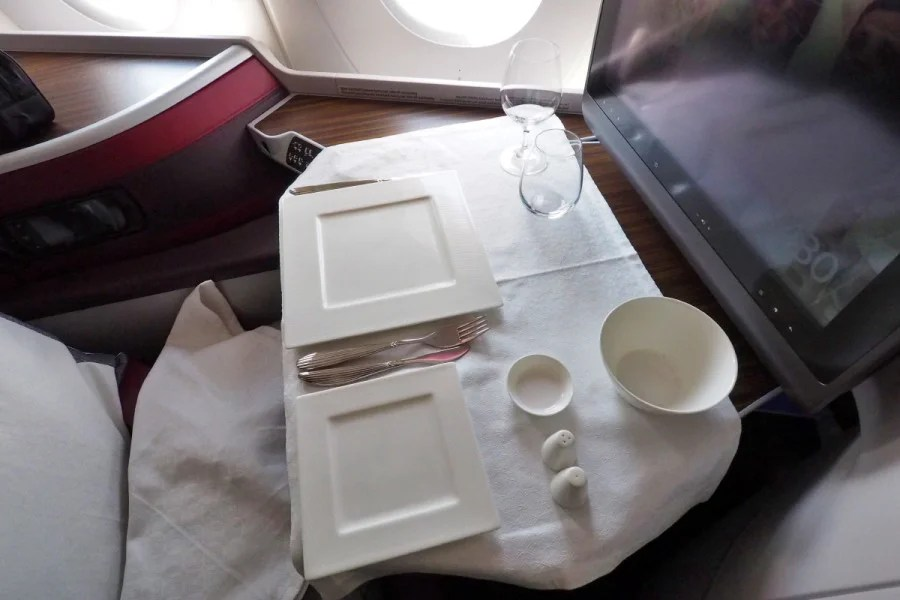 Business-class meal service (without the food) on Qatar's A350.