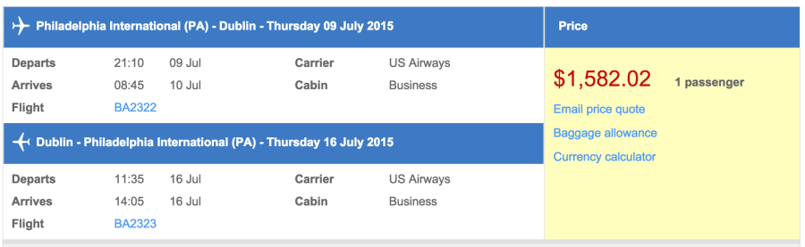Philadelphia (PHL) to Dublin (DUB) in business class on British Airways for $1,517.