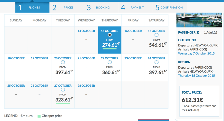 New York to Paris for 612 EUR ($687) round-trip in October.