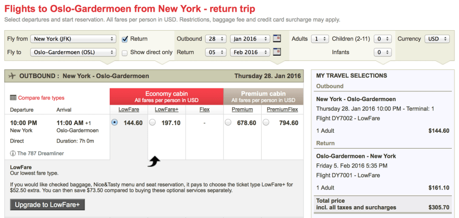 New York (JFK)-Oslo (OSL) for $305 on Norwegian: