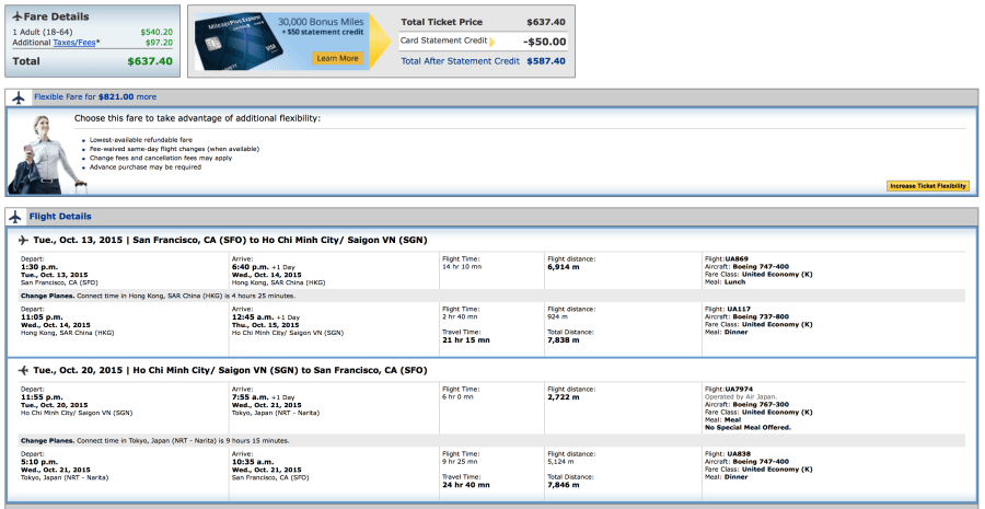 San Francisco to Ho Chi Minh City for $637 round-trip on United.