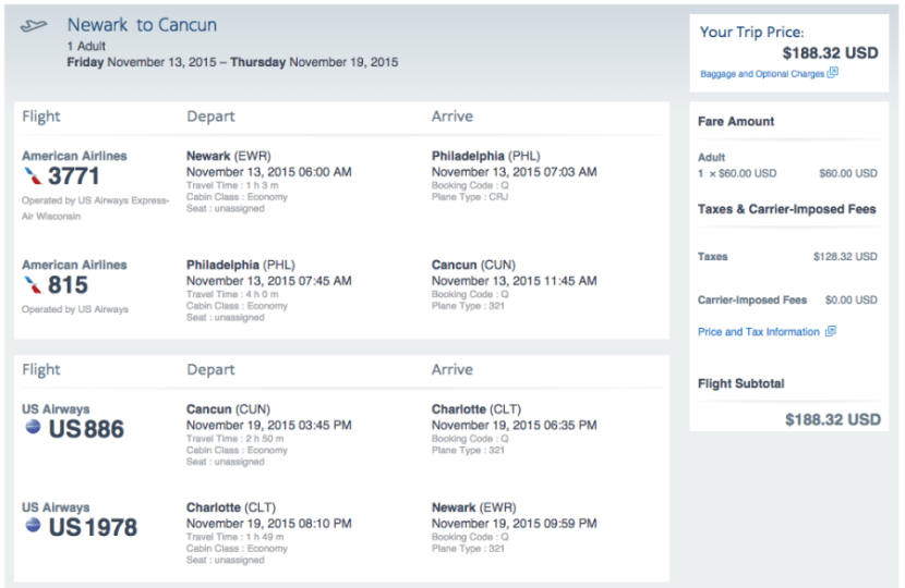Newark (EWR)-Cancun (CUN) for $188 on AA.