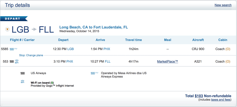 Long Beach to Ft. Lauderdale for $103 one-way.