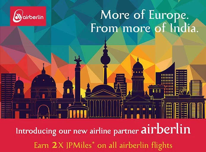 Airberlin and Jet Airways are partners and have reciprocal earning