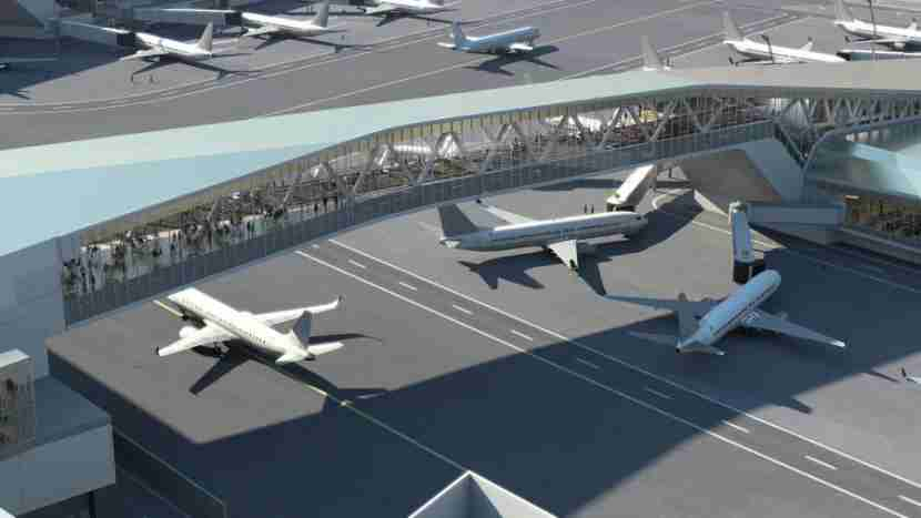 A skybridge will bring passengers from the check-in area to the concourse gates, providing more space for aircraft movement.