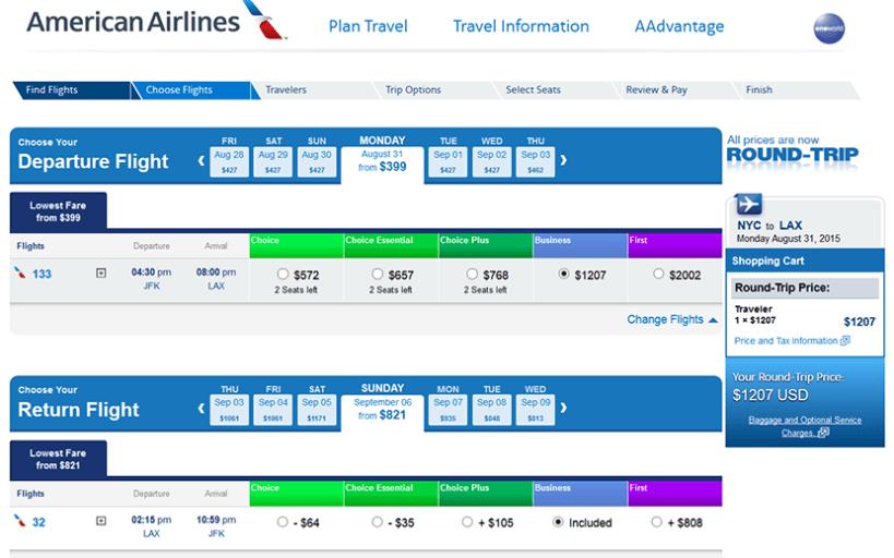 American transcon itinerary JFK-LAX