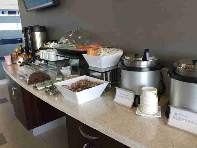 The standard Admirals Club food spread was present here — albeit with paper plates.