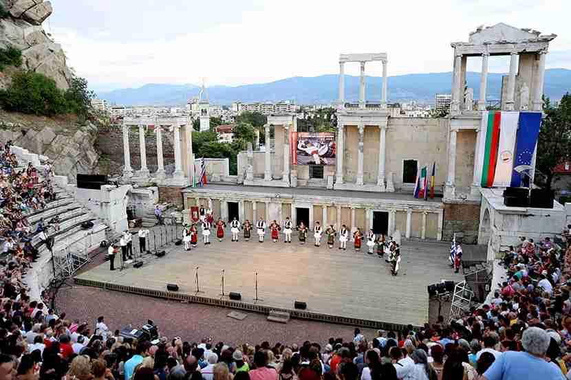 Greek dancers at the International Folklore Festival in Plovdiv.