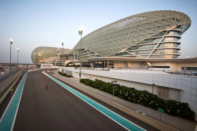 The Yas Viceroy is the world's only hotel built on top of a racetrack.  During the Formula 1 Grand Prix, you can watch cars whiz by from your hotel room.