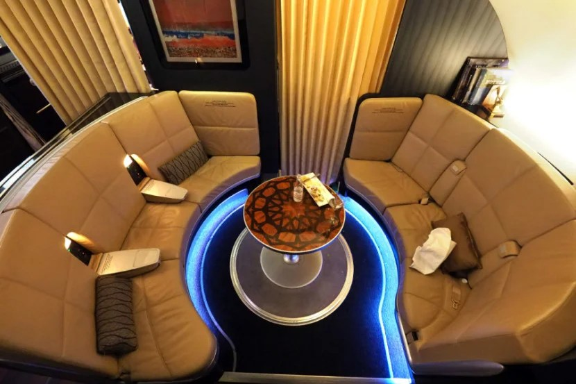 Located between business and first class, the lounge has plenty of room to stretch out.