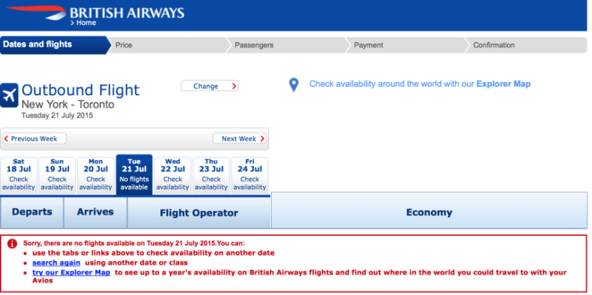 Searching for LGA-YYZ on British Airways yielded no results.
