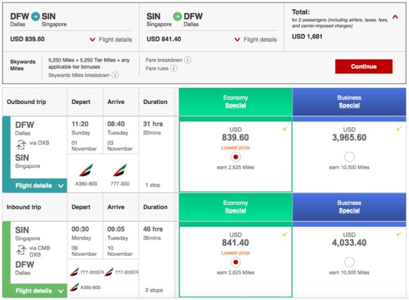 Dallas (DFW)-Singapore (SIN) for $841 on Emirates .