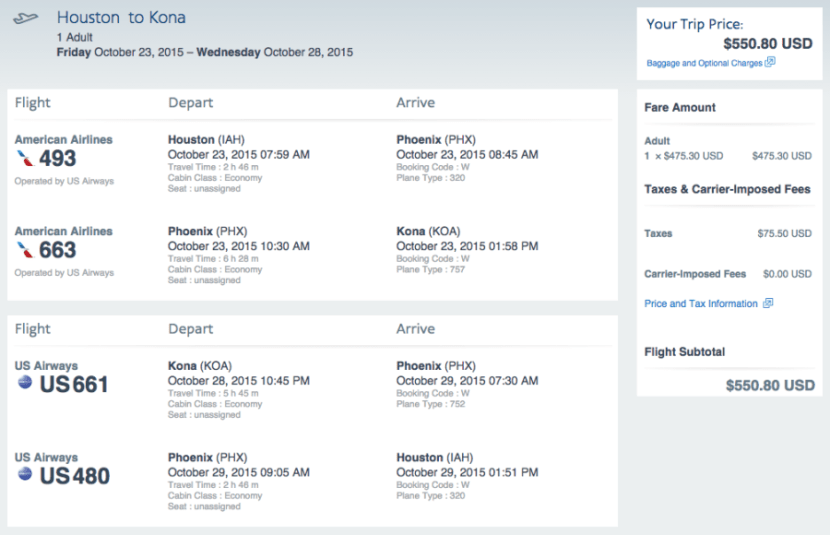 Houston (IAH) - Kona (KOA) for $551 on AA
