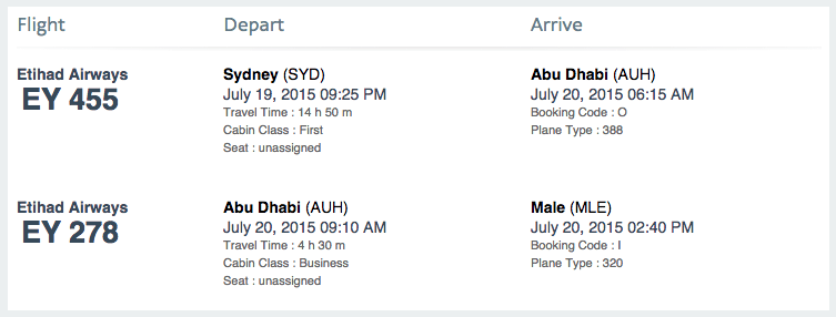 Sydney to Male via Abu Dhabi.