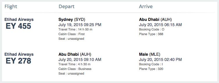 Sydney to Male via Abu Dhabi.